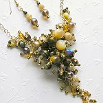 Golden Brown Cluster Necklace & Earrings