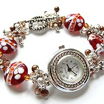 Lampwork Bead, Crystal and Silver Watch