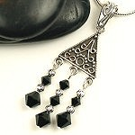 Black Crystal and Silver Necklace